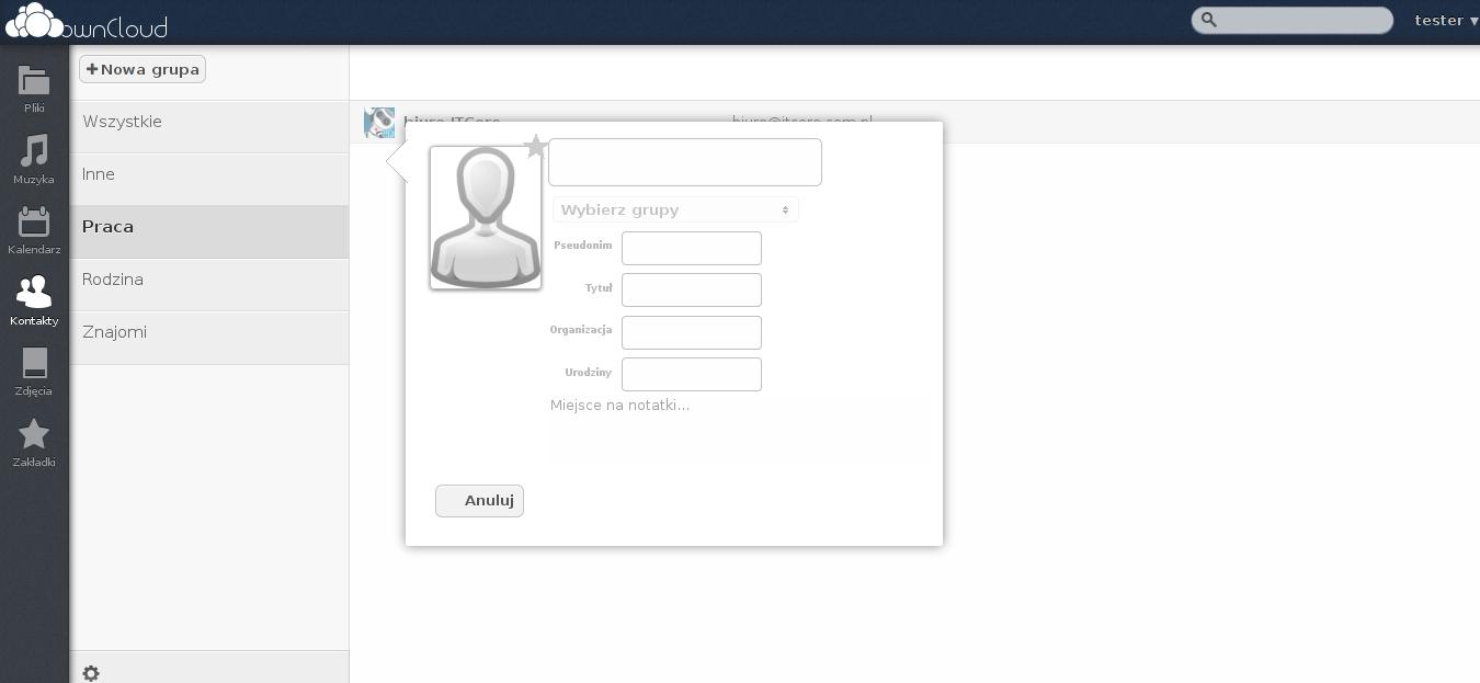 owncloud 5 - kontakty