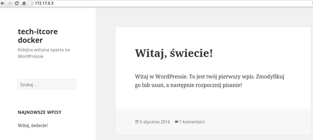 docker - instalacja wordpressa, kontenery z mysql, php oraz apache